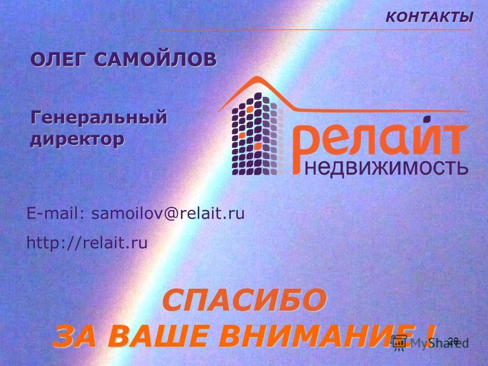 28КОНТАКТЫСПАСИБО ЗА ВАШЕ ВНИМАНИЕ ! ОЛЕГ САМОЙЛОВ Генеральныйдиректор Е-mail: samoilov@relait.ru http://relait.ru