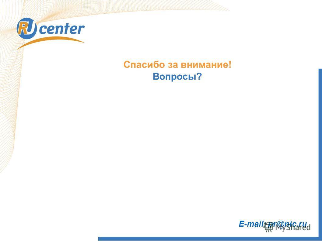 Спасибо за внимание! Вопросы? E-mail: pr@nic.ru