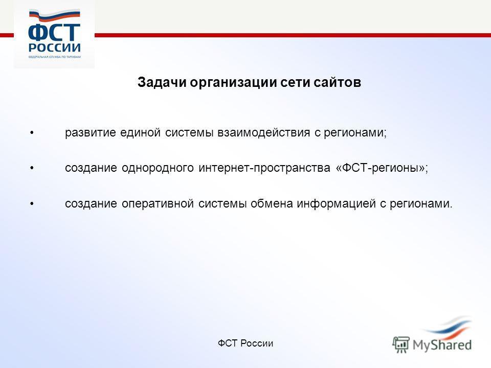 ФСТ России Задачи организации сети сайтов развитие единой системы взаимодействия с регионами; создание однородного интернет-пространства «ФСТ-регионы»; создание оперативной системы обмена информацией с регионами.