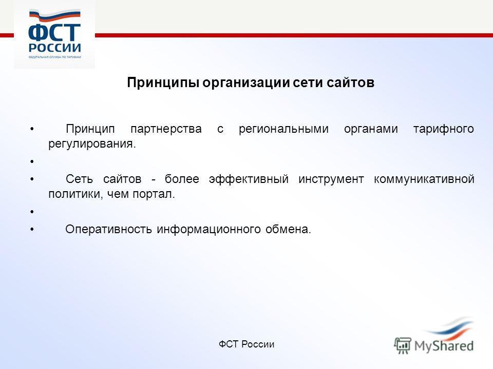 ФСТ России Принципы организации сети сайтов Принцип партнерства с региональными органами тарифного регулирования. Сеть сайтов - более эффективный инструмент коммуникативной политики, чем портал. Оперативность информационного обмена.