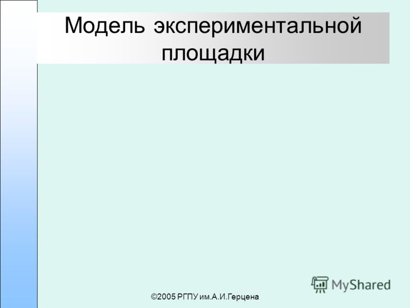 ©2005 РГПУ им.А.И.Герцена Модель экспериментальной площадки