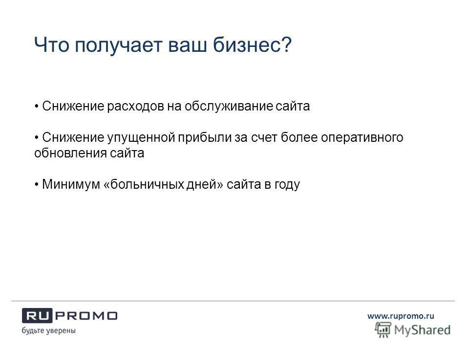 www.rupromo.ru Снижение расходов на обслуживание сайта Снижение упущенной прибыли за счет более оперативного обновления сайта Минимум «больничных дней» сайта в году Что получает ваш бизнес?