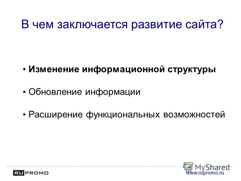www.rupromo.ru В чем заключается развитие сайта? Изменение информационной структуры Обновление информации Расширение функциональных возможностей