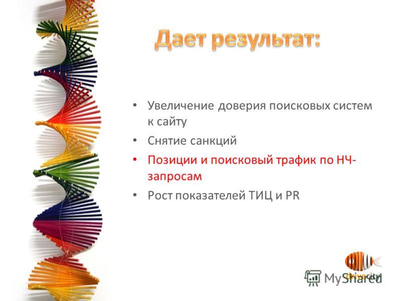 Увеличение доверия поисковых систем к сайту Снятие санкций Позиции и поисковый трафик по НЧ- запросам Рост показателей ТИЦ и PR