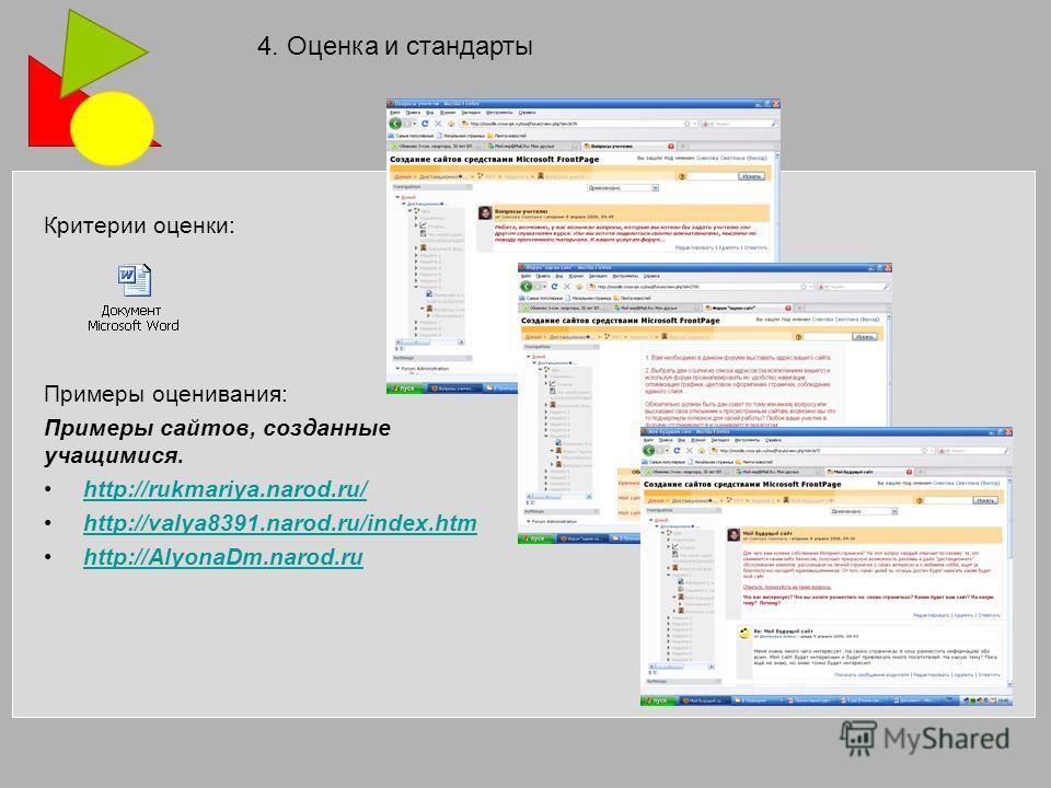Критерии оценки: Примеры оценивания: Примеры сайтов, созданные учащимися. http://rukmariya.narod.ru/ http://valya8391.narod.ru/index.htm http://AlyonaDm.narod.ru 4. Оценка и стандарты