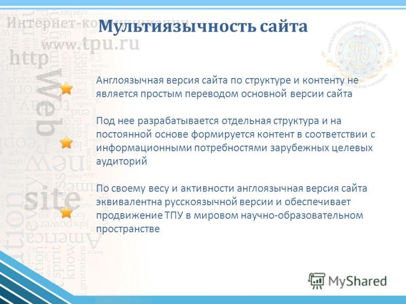 Мультиязычность сайта Англоязычная версия сайта по структуре и контенту не является простым переводом основной версии сайта Под нее разрабатывается отдельная структура и на постоянной основе формируется контент в соответствии с информационными потреб