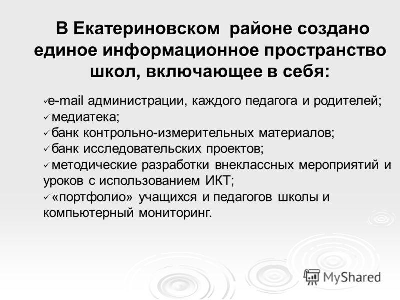 В Екатериновском районе создано единое информационное пространство школ, включающее в себя: В Екатериновском районе создано единое информационное пространство школ, включающее в себя: e-mail администрации, каждого педагога и родителей; медиатека; бан