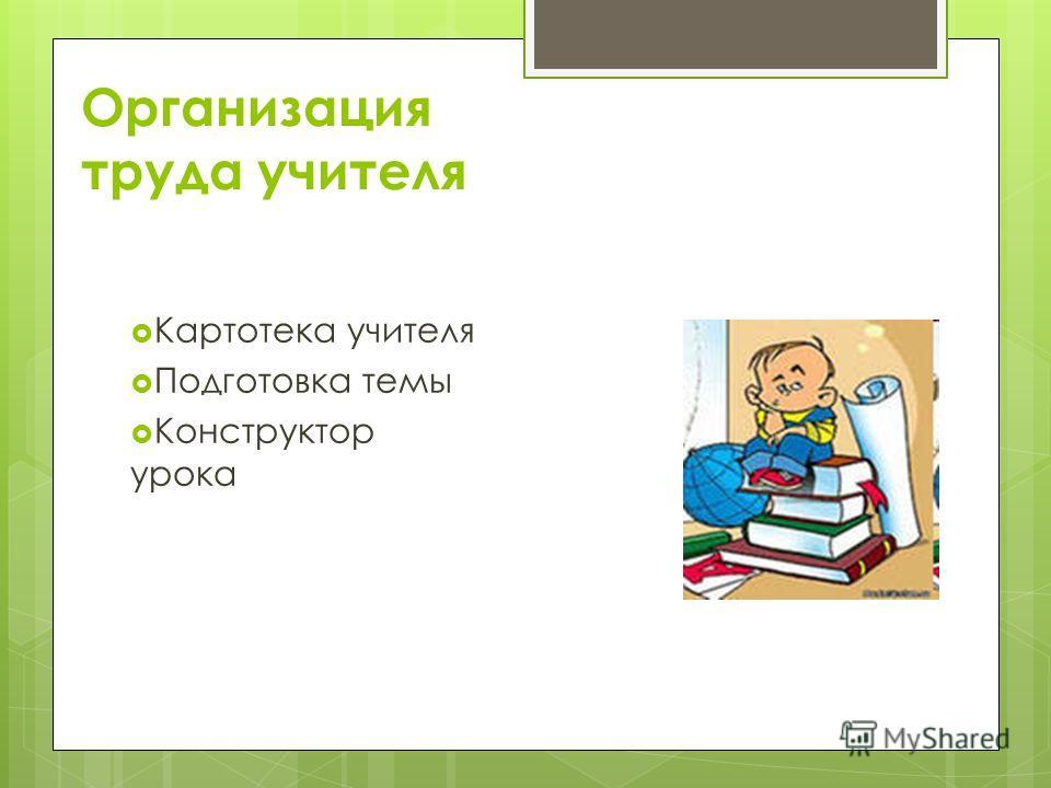 Организация труда учителя Картотека учителя Подготовка темы Конструктор урока