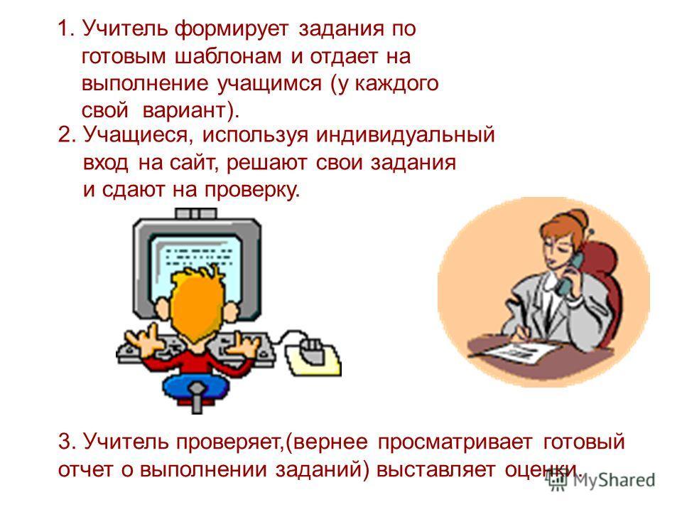 1.Учитель формирует задания по готовым шаблонам и отдает на выполнение учащимся (у каждого свой вариант). 3. Учитель проверяет,(вернее просматривает готовый отчет о выполнении заданий) выставляет оценки. 2. Учащиеся, используя индивидуальный вход на