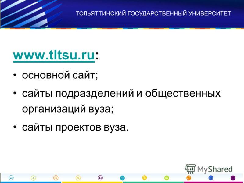 www.tltsu.ruwww.tltsu.ru: основной сайт; сайты подразделений и общественных организаций вуза; сайты проектов вуза.
