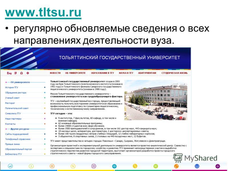 www.tltsu.ru регулярно обновляемые сведения о всех направлениях деятельности вуза.