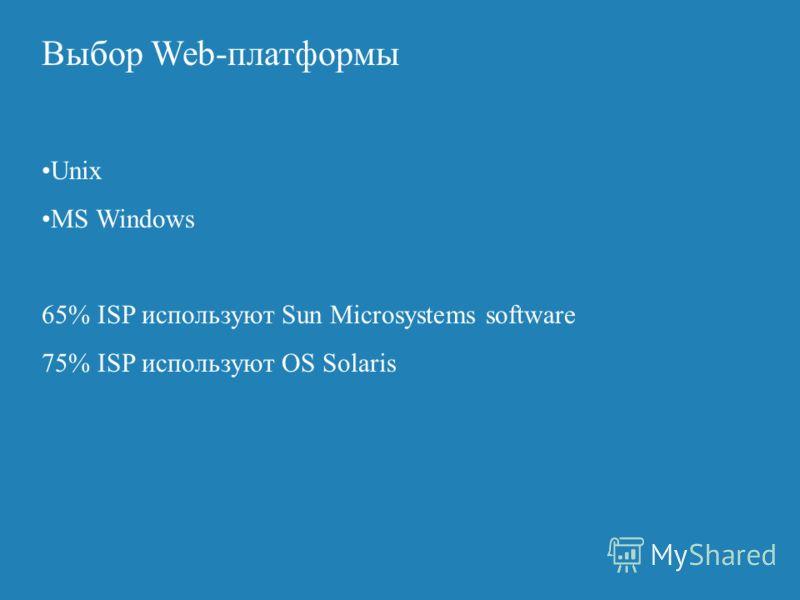 Выбор Web-платформы Web - серверы E-commerce - серверы ERPMainframe DB - серверы Внешний запрос Web-server layer Mid-tier layer Backend layer