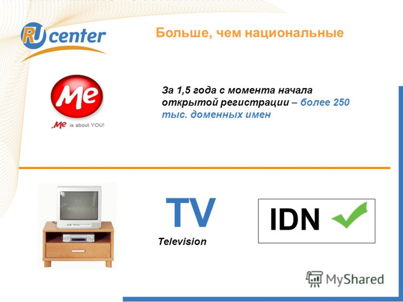 Как работает домен TEL? Больше, чем национальные TV IDN Television За 1,5 года с момента начала открытой регистрации – более 250 тыс. доменных имен