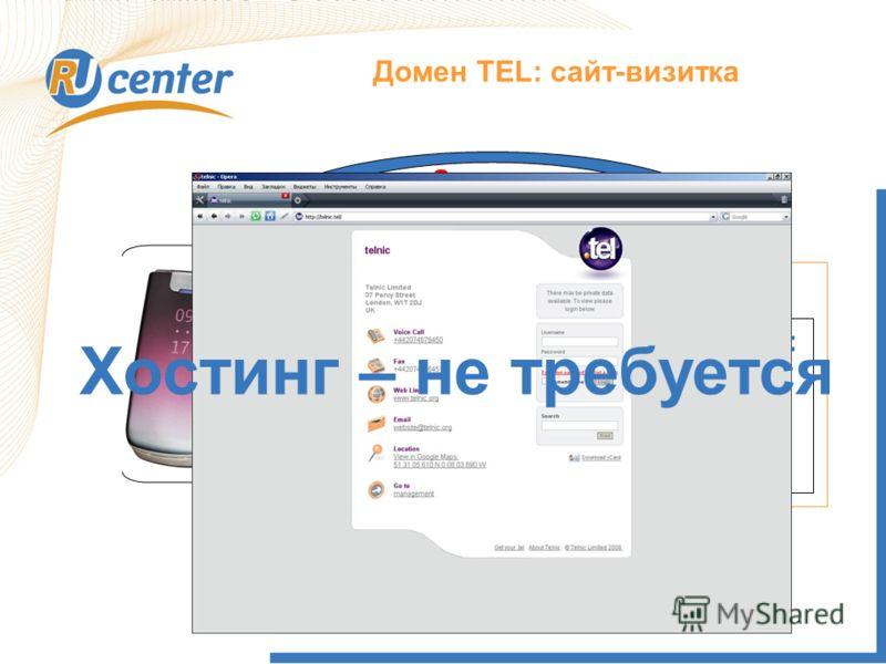 Как работает домен TEL? Домен TEL: сайт-визитка Запрос DNS Rucenter.tel: Tel:+74957370601 E-mail: info@nic.ru ….. Данные Хостинг – не требуется