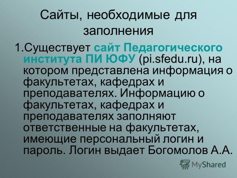 Сайты, необходимые для заполнения 1.Существует сайт Педагогического института ПИ ЮФУ (pi.sfedu.ru), на котором представлена информация о факультетах, кафедрах и преподавателях. Информацию о факультетах, кафедрах и преподавателях заполняют ответственн