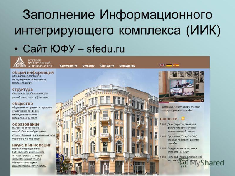 Заполнение Информационного интегрирующего комплекса (ИИК) Сайт ЮФУ – sfedu.ru