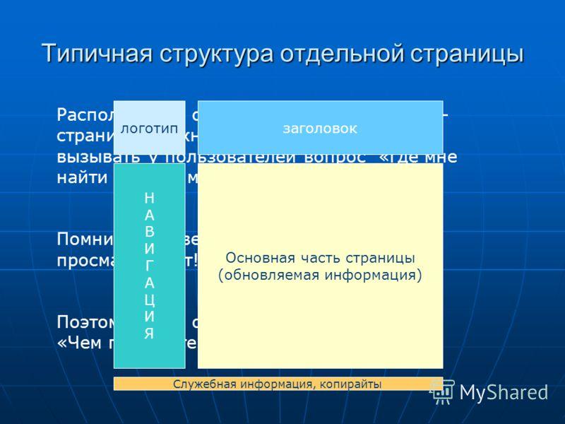 Типичная структура отдельной страницы Расположение основных элементов на веб- странице должно быть простым и не вызывать у пользователей вопрос «где мне найти нужное место?» Помните, что веб-страницы не читают, а просматривают! Поэтому здесь очень ва
