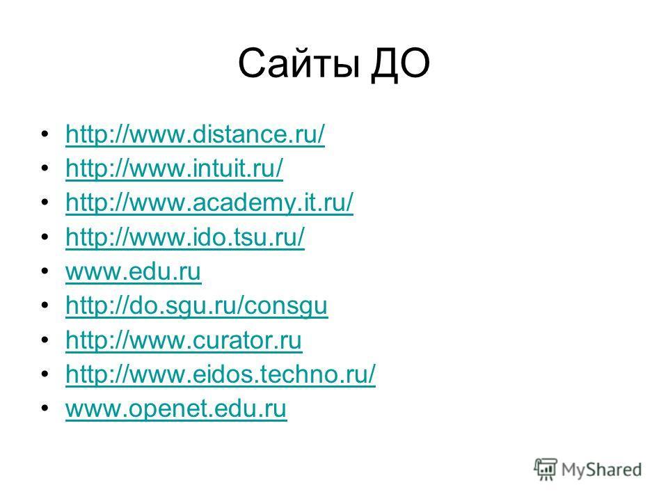 Сайты ДО http://www.distance.ru/ http://www.intuit.ru/ http://www.academy.it.ru/ http://www.ido.tsu.ru/ www.edu.ruwww.edu.ru http://do.sgu.ru/consgu http://www.curator.ru http://www.eidos.techno.ru/http://www.eidos.techno.ru/ www.openet.edu.ruwww.ope