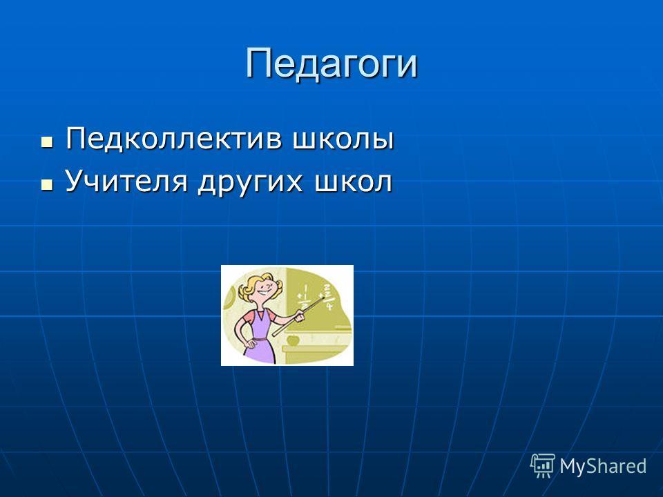 Педагоги Педколлектив школы Педколлектив школы Учителя других школ Учителя других школ