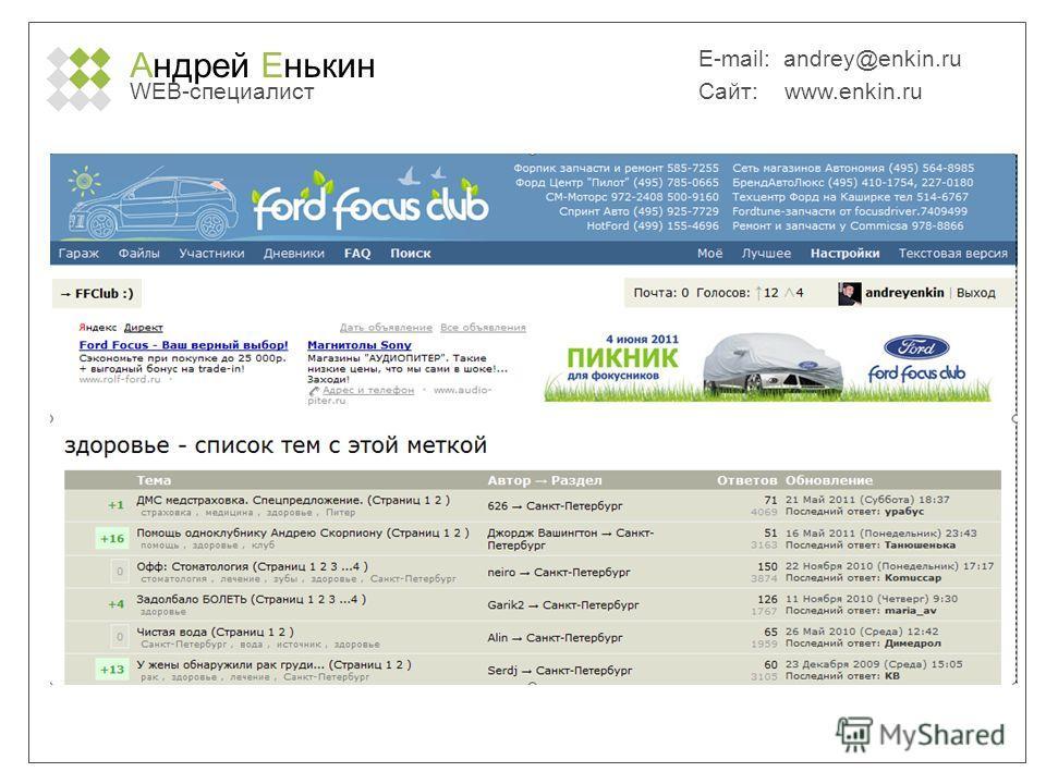 Андрей Енькин WEB-специалист E-mail: andrey@enkin.ru Сайт: www.enkin.ru