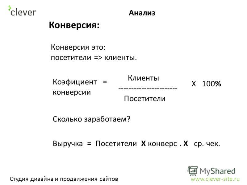 Анализ Студия дизайна и продвижения сайтов www.clever-site.ru Конверсия: Конверсия это: посетители => клиенты. Коэфициент = конверсии Клиенты ----------------------- Посетители Х 100% Сколько заработаем? Выручка = Посетители Х конверс. Х ср. чек.