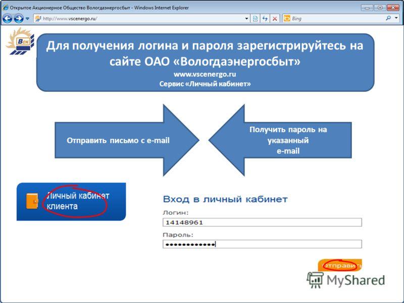 Номер карты Отправить письмо с e-mail Получить пароль на указанный e-mail Для получения логина и пароля зарегистрируйтесь на сайте ОАО «Вологдаэнергосбыт» www.vscenergo.ru Сервис «Личный кабинет»