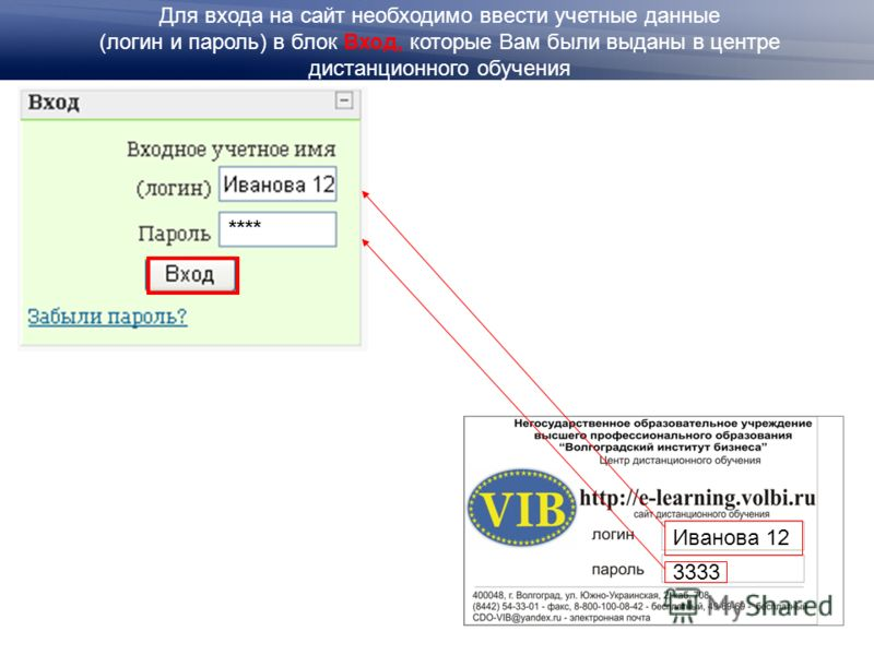 Для входа на сайт необходимо ввести учетные данные (логин и пароль) в блок Вход, которые Вам были выданы в центре дистанционного обучения **** Иванова 12 3333