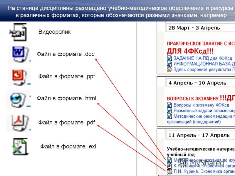 Файл в формате.doc Файл в формате.ppt Файл в формате.html Файл в формате.pdf На станице дисциплины размещено учебно-методическое обеспечение и ресурсы в различных форматах, которые обозначаются разными значками, например Видеоролик Файл в формате.exl