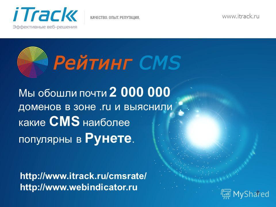 9 www.itrack.ru Мы обошли почти 2 000 000 доменов в зоне.ru и выяснили какие CMS наиболее популярны в Рунете. http://www.itrack.ru/cmsrate/ http://www.webindicator.ru