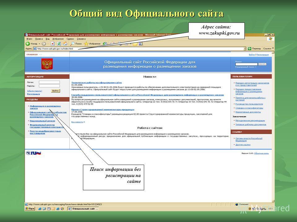 Адрес сайта: www.zakupki.gov.ru Поиск информации без регистрации на сайте Общий вид Официального сайта