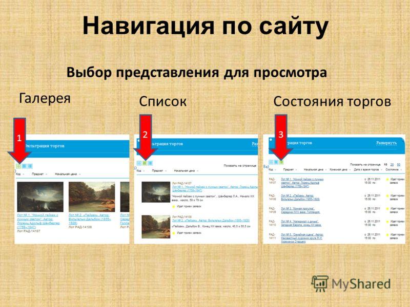 Навигация по сайту 1 Галерея 3 Состояния торгов 2 Список Выбор представления для просмотра