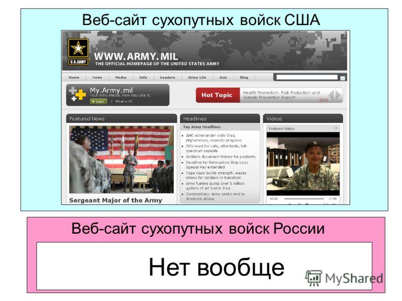 Веб-сайт сухопутных войск США Веб-сайт сухопутных войск России Нет вообще