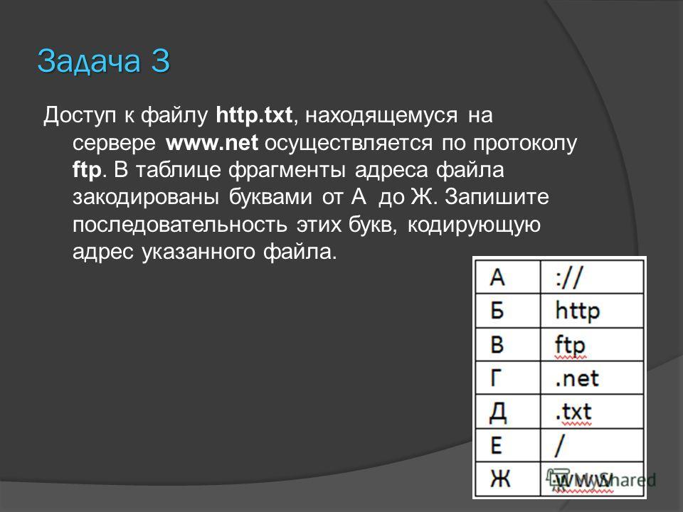 Задача 3 Доступ к файлу http.txt, находящемуся на сервере www.net осуществляется по протоколу ftp. В таблице фрагменты адреса файла закодированы буквами от А до Ж. Запишите последовательность этих букв, кодирующую адрес указанного файла.
