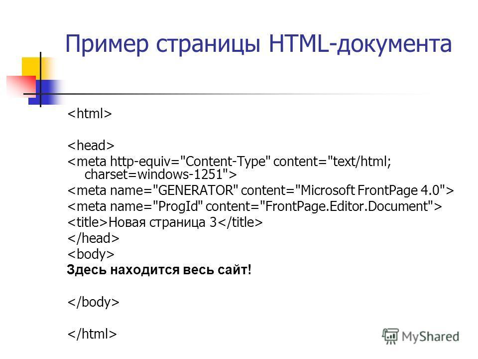 Пример страницы HTML-документа Новая страница 3 Здесь находится весь сайт!