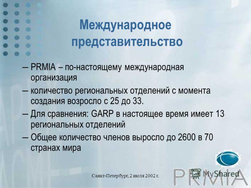 Санкт-Петербург, 2 июля 2002 г. Международное представительство PRMIA – по-настоящему международная организация количество региональных отделений с момента создания возросло с 25 до 33. Для сравнения: GARP в настоящее время имеет 13 региональных отде