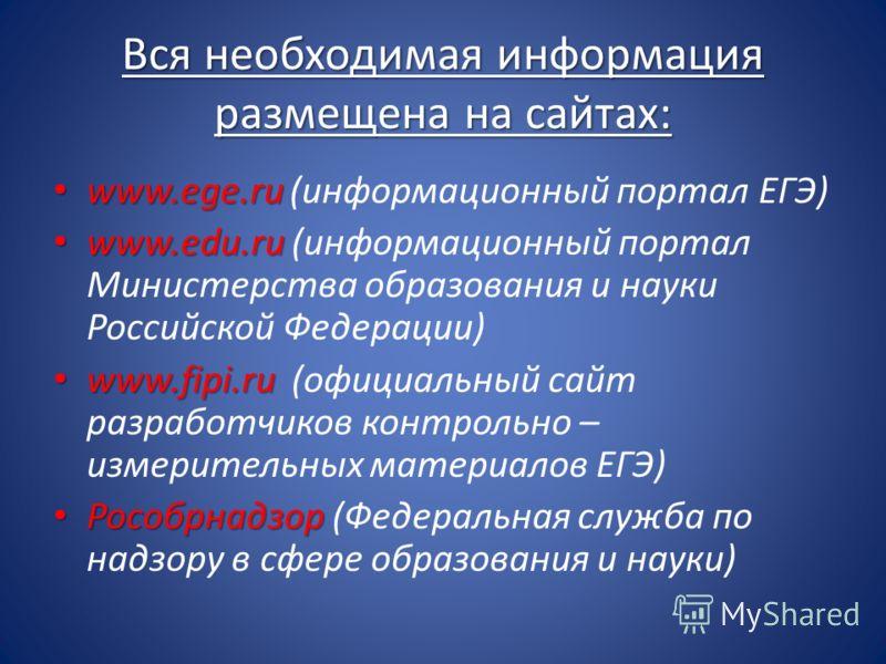 Вся необходимая информация размещена на сайтах: www.ege.ru www.ege.ru (информационный портал ЕГЭ) www.еdu.ru www.еdu.ru (информационный портал Министерства образования и науки Российской Федерации) www.fipi.ru www.fipi.ru (официальный сайт разработчи