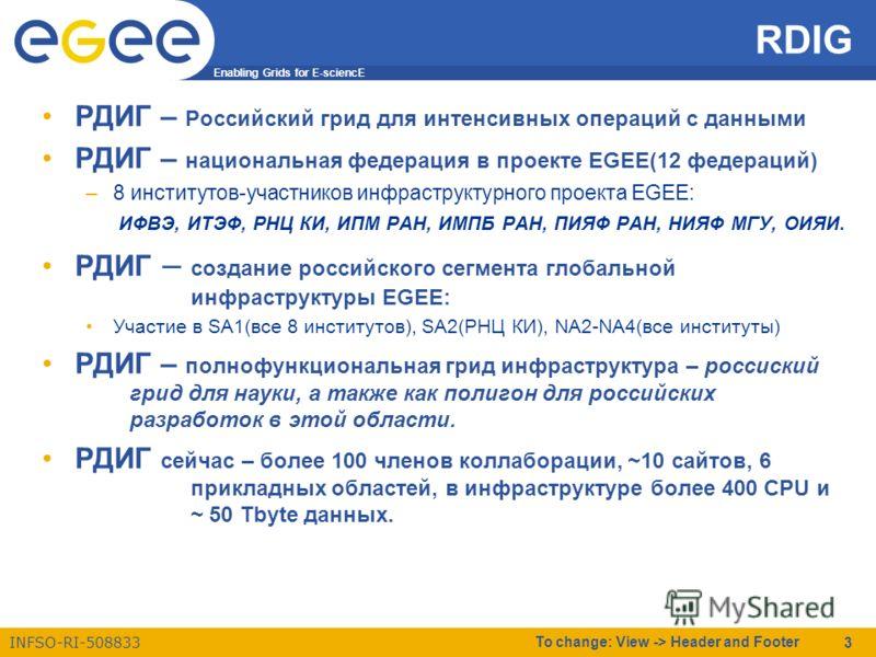 Enabling Grids for E-sciencE INFSO-RI-508833 To change: View -> Header and Footer 3 RDIG РДИГ – Российский грид для интенсивных операций с данными РДИГ – национальная федерация в проекте EGEE(12 федераций) –8 институтов-участников инфраструктурного п