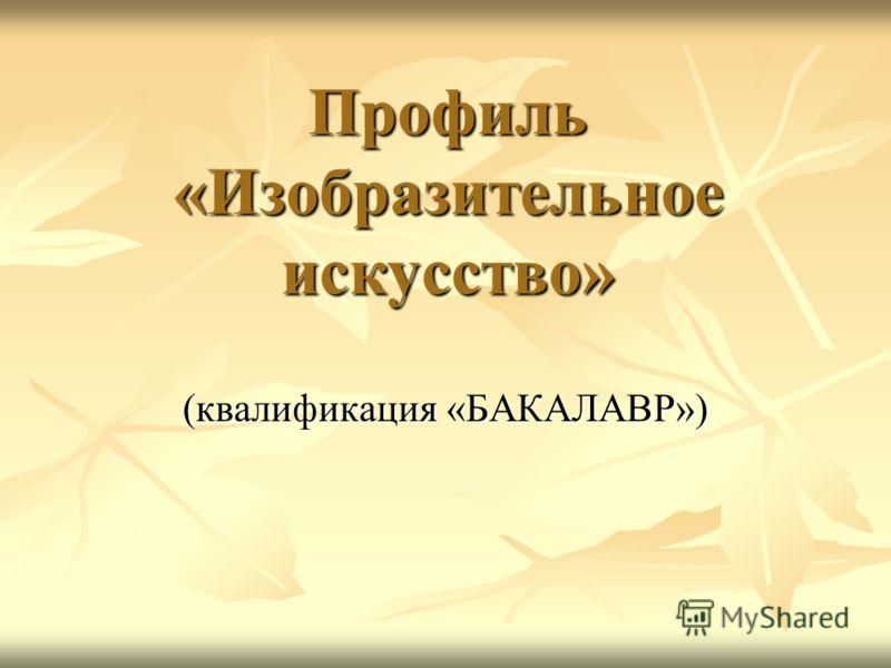 Профиль «Изобразительное искусство» (квалификация «БАКАЛАВР»)