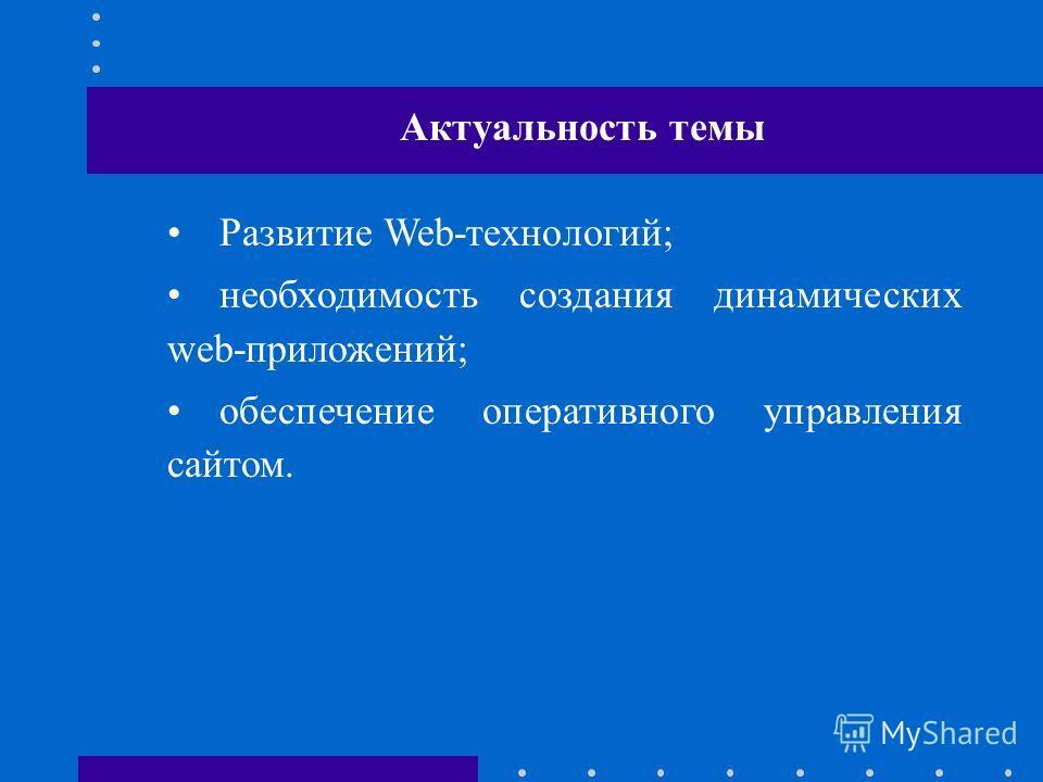 Развитие Web-технологий; необходимость создания динамических web-приложений; обеспечение оперативного управления сайтом. Актуальность темы