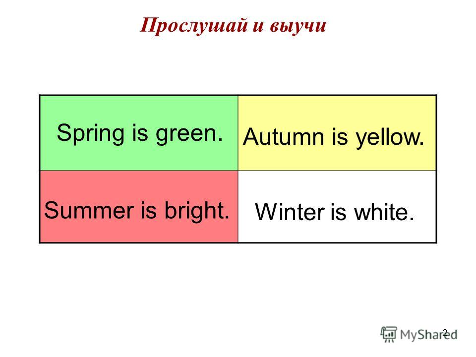 2 Прослушай и выучи Spring is green. Summer is bright. Autumn is yellow. Winter is white.