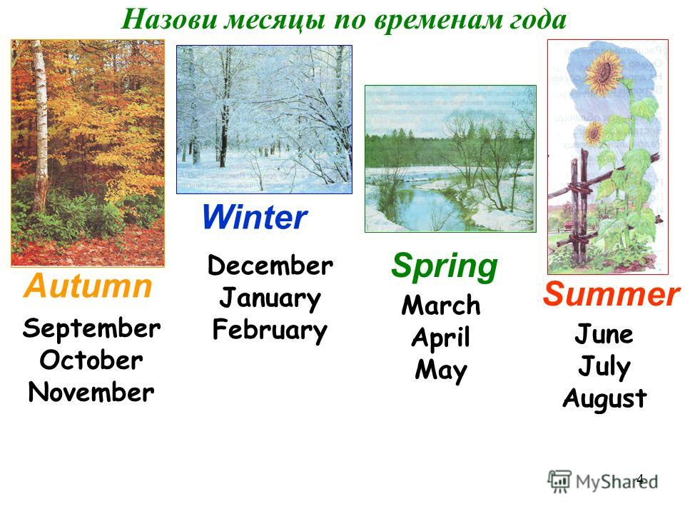 4 Назови месяцы по временам года Autumn Winter Spring Summer September October November December January February March April May June July August