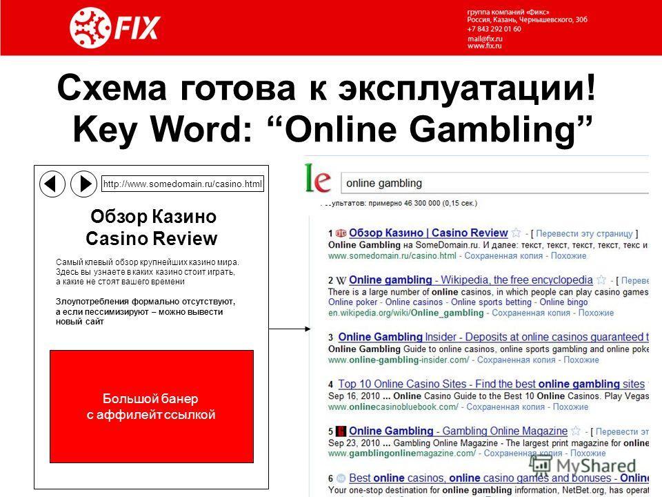 Схема готова к эксплуатации! Key Word: Online Gambling http://www.somedomain.ru/casino.html Обзор Казино Casino Review Самый клевый обзор крупнейших казино мира. Здесь вы узнаете в каких казино стоит играть, а какие не стоят вашего времени Злоупотреб