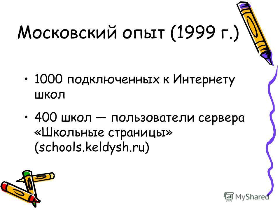 Московский опыт (1999 г.) 1000 подключенных к Интернету школ 400 школ пользователи сервера «Школьные страницы» (schools.keldysh.ru)