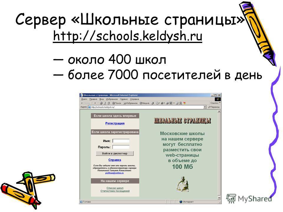 Сервер «Школьные страницы» http://schools.keldysh.ru около 400 школ более 7000 посетителей в день