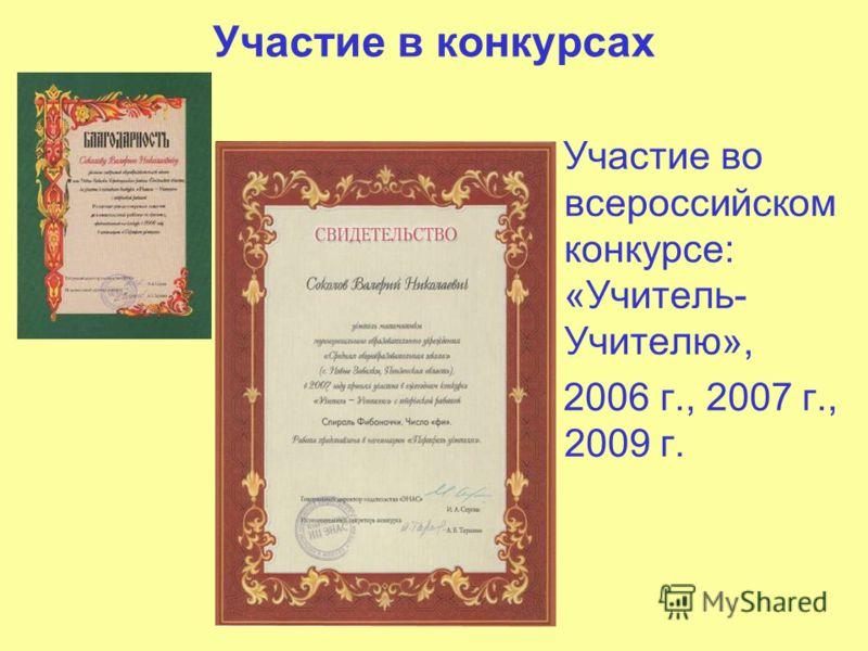 Участие в конкурсах Участие во всероссийском конкурсе: «Учитель- Учителю», 2006 г., 2007 г., 2009 г.