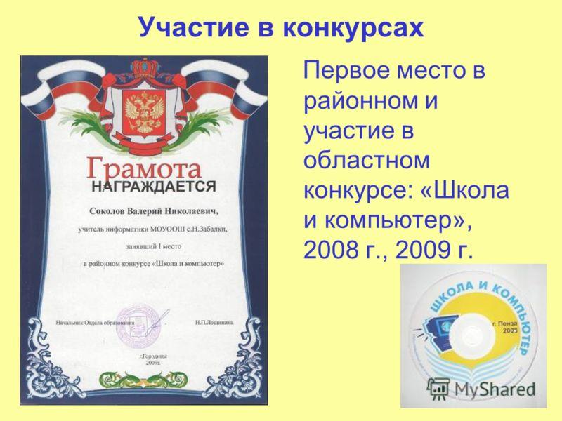 Участие в конкурсах Первое место в районном и участие в областном конкурсе: «Школа и компьютер», 2008 г., 2009 г.