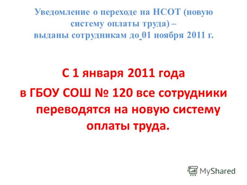 Уведомление о переходе на НСОТ (новую систему оплаты труда) – выданы сотрудникам до 01 ноября 2011 г. С 1 января 2011 года в ГБОУ СОШ 120 все сотрудники переводятся на новую систему оплаты труда.