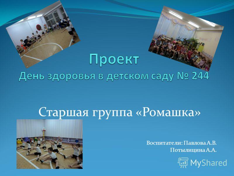 Воспитатели: Павлова А.В. Потылицина А.А. Старшая группа «Ромашка»