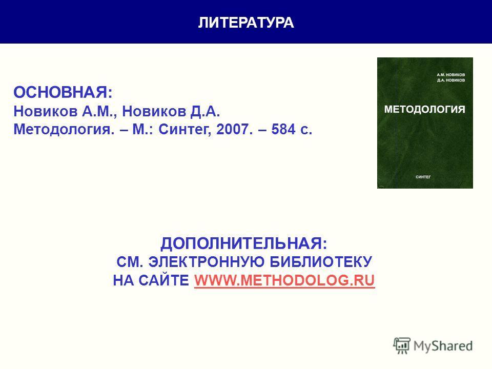 ЛИТЕРАТУРА ОСНОВНАЯ: Новиков А.М., Новиков Д.А. Методология. – М.: Синтег, 2007. – 584 с. ДОПОЛНИТЕЛЬНАЯ: СМ. ЭЛЕКТРОННУЮ БИБЛИОТЕКУ НА САЙТЕ WWW.METHODOLOG.RUWWW.METHODOLOG.RU