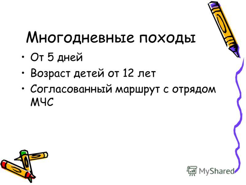 Многодневные походы От 5 дней Возраст детей от 12 лет Согласованный маршрут с отрядом МЧС